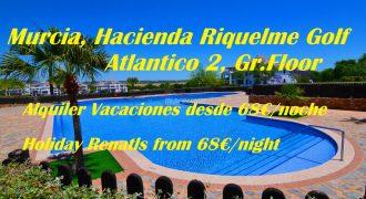 Murcia, Hacienda Riquelme Golf, Atlantico 2, Ground Floor, Holiday Rentals