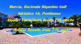 Murcia, Hacienda Riquelme Golf, Adriatico 16, Unique Penthouse, Holiday Rentals
